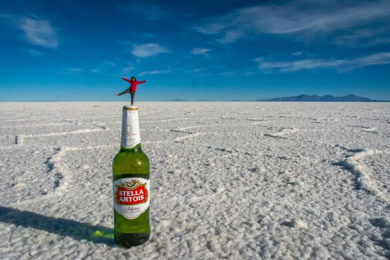 perspective photography salar de uyuni bolivia bottle