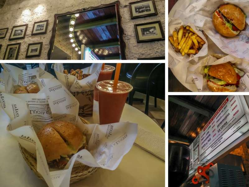 Burgers and interior of La Lucha top hotspot for foodies in Arequipa