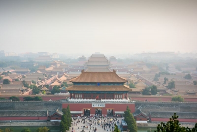 smog ove rthe forbidden city in beijing