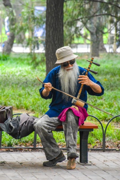Chinese violin player at temple of heaven