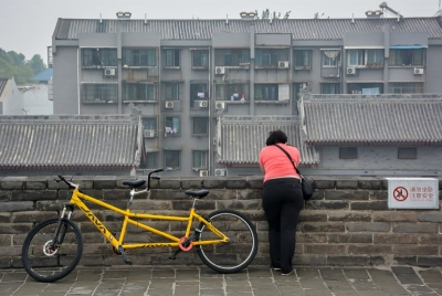 china xian city wall bike
