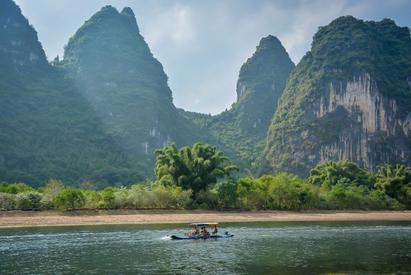 Yangshuo boat on the river