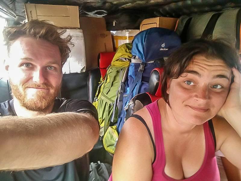 being cramped during a minivan scam