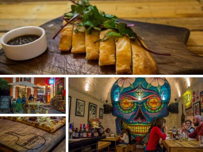 Pizza and interior from Las gringas restaurant top restaurant for foodies in Arequipa