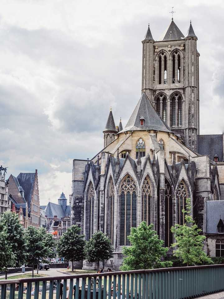 Ghent Belgium Cathedral air view